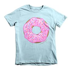Kids Strawberry Cream Glazed Donut Short Sleeve T-shirt