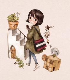 카키색 점퍼를 입은 단발머리 소녀. 화분과 풀잎은 패턴으로도 만들어 보았습니다.