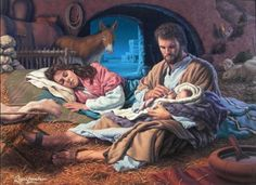 In the Hands of The Father by Roger Loveless ~ Jesus nativity ~ Holy Family Pictures Of Christ, Religious Pictures, Catholic Art, Religious Art, Image Jesus, Jesus Christus, Holiday Messages, O Holy Night, Mary And Jesus