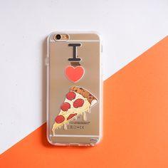 Clear TPU Case Cover - I Love Pizza