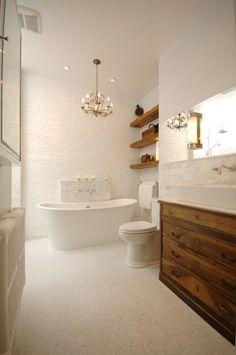 white + wood bathroom