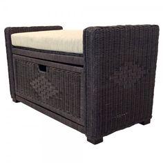 Rattan Wicker Chest Storage Ottoman Eva Color Dark Brown w/Cushion Wicker Furniture, Outdoor Furniture, Outdoor Decor, Ottomans, Rattan, Storage Chest, Dark Brown, Cushions, Color