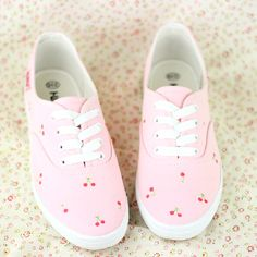 Little cherry canvas shoes, hand-painted small pure and fresh and soft sister/K0178