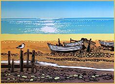 Sun on the Sea, Rob Barnes Linocut