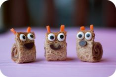 Cute food ideas! (Great for kids) {Peanut Butter Snail Sandwiches]