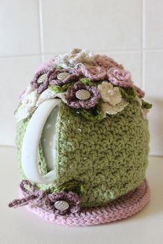 ❥Crochet Tea Cosies, Mug Hug Snugs and Cuppa Cosies. crochet flowers