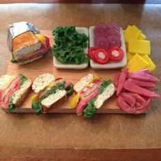 16 Miniature Deli style sandwich platter by ChynadollCreations, $15.00