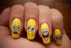 Sponge Bob nails in yellow! #nailart #Nails #polish #cute - For more nail looks or to share yours, go to bellashoot.com