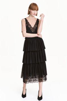 Платье с треугольным вырезом - Черный - Женщины | H&M RU 1