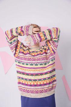 vintage benetton wool sweater colorful pattern retro sweater
