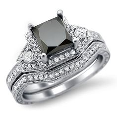Black Princess Cut Diamond Engagement Ring Bridal Set White Gold / Front Jewelers My dream ring sooooo amazing Princess Cut Engagement Rings, Diamond Engagement Rings, Solitaire Engagement, Diamond Rings, Princess Cut Diamonds, Bridal Sets, Swagg, Beautiful Rings, Just In Case