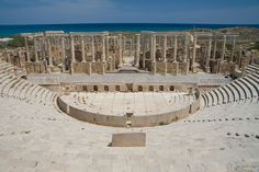 Theater of Leptis Magna (2nd century BC), the well preserved ancient city along the Mediterranean Sea, located 120 km Est of Tripoli, Libya.