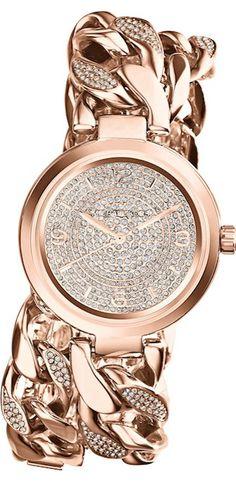Michael Kors 'Ellie' Pavé Wrap Chain Link Watch