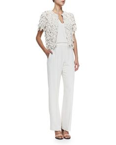 Short-Sleeve Silk Fringe Jacket 2880$ & Sleeveless Crepe V-Neck Jumpsuit  2110$ by Brunello Cucinelli at Neiman Marcus.
