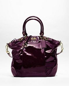 Coach Madison Patent Lindsey Satchel in Plum.