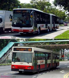 Two demonstrator buses that never had a chance to meet with each other on the roads or on service...  The then- brand new MAN NG363F demonstrator with Gemilang bodywork with the then-outgoing Mercedes Benz O405G demonstrator bodied by Hispano TIB838H.  (Though they did meet inside Kranji bus depot)