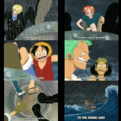 Sanji, Luffy, Nami, Zoro, Usopp, text, quote, feet, barrel, Grand Line, One Piece; Photo Collages