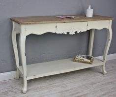 Konsole-Sekretaer-weiss-braun-antik-Landhaus-Holz-Tisch-Anrichte-Flur-shabby-chic