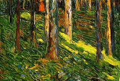 Wassily Kandinsky. -- Forest Landscape with Red Figure. 1902