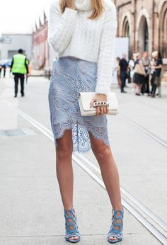 Toughen up a feminine, lace pencil skirt with a chunky, oversize knit up top