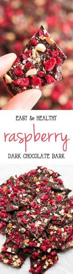 Healthy Raspberry Dark Chocolate Bark -- just 6 ingredients NO sugar! So easy perfect for a guilt-free Valentines Day treat!