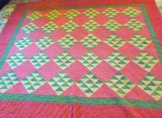 Pennsylvania WILD GEESE  Antique Hand Sewn Patchwork Quilt 19th Century VGC