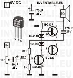 Amplificador transistorizado con transistores BC327 y BC337 de salida. #audio #amplificador #de #audio Simple Electronics, Hobby Electronics, Electronics Components, Electronics Projects, Electronic Circuit Design, Electronic Engineering, Electrical Engineering, Electrical Circuit Diagram, Hifi Amplifier