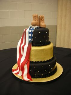 Army Retirement Party - sculpted fondant combat boots, fondant american flag draped on the side of the cake