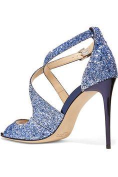 Jimmy Choo - Emily Glittered Leather Sandals - Blue - IT41