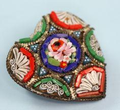 Mosaic Tile Heart Shaped Pin Signed Italy Vintage via Etsy.