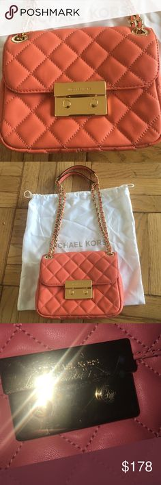 Michael Kors Sloan Small Quilted Shoulder Bag The color is grapefruit. The metal has scratches on it, as pictured. I received this as a gift but I'm not a huge MK fan. The care card is included, but the tag has been ripped off. Please let me know if you have any questions or concerns!!! Color is Grapefruit. Feel free to make an offer!! 😊 Michael Kors Bags Shoulder Bags