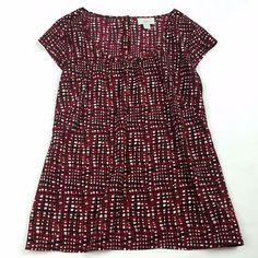 Ann Taylor LOFT Women Blouse Size 8 Multi-Color Red Black Short Sleeve Top Shirt #AnnTaylorLOFT #Blouse
