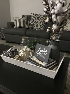 49 Smart Farmhouse Coffee Table Decor Ideas To Try - The farmhouse gives you a sense of home and family. It is full of activity, especially around the table. They say old is gold, a reason you should mak. Coffee Table Styling, Diy Coffee Table, Decorating Coffee Tables, Coffee Table Vignettes, Coffee Tray, Coffee Table Decor Living Room, Living Room Decor, Dinning Table, Coffee Table Centerpieces