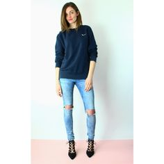 Re:dream Vintage Nike Tick Logo Oversized Sports Sweat Jumper (54 NZD) ❤ liked on Polyvore featuring tops, sweaters, blue, blue oversized sweater, sport sweaters, long sleeve jumper, jumpers sweaters and blue sweater