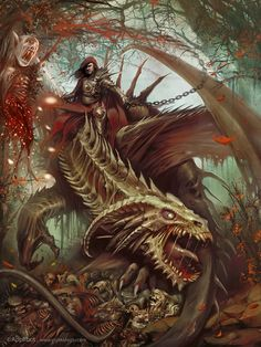 30 Mind Blowing Fantasy Artworks | Cuded Undead dragon rider