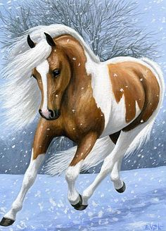 FUN IN THE FLURRIES.....a palomino pinto is prancing through the snowflakes of a chilly winter day.....PRINTED