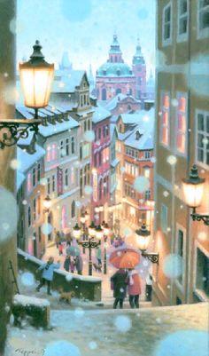 聖ミクラーシュ教会、雪の眺望 of Art Terrace.com