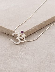 Silver and Amethyst Om Necklace