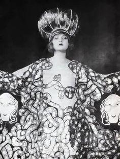 1920's ~ Ziegfeld Follies. Medusa dress with an abundance of snakes.