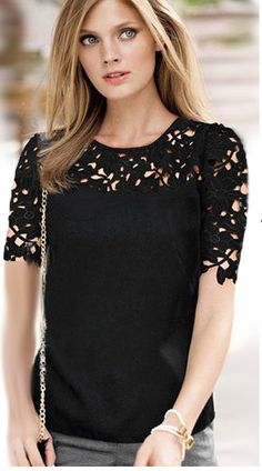 Large Size Women Clothing Summer New moda feminina Lace Shirt Round Neck Short Sleeve Chiffon Blouse Female Tops Shirt(China (Mainland)) Blouse Sexy, Short Sleeve Blouse, Denim Blouse, Long Sleeve, Black Short Sleeve Tops, Floral Blouse, Black Tops, Short Sleeves, Latest Street Fashion