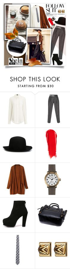 """Follow Suit..SheIn"" by melissa-de-souza ❤ liked on Polyvore featuring Joseph, Paul Smith, ISABEL BENENATO, NARS Cosmetics, Shinola, Isaia, Eddie Borgo, Sheinside and polyvoreeditorial"