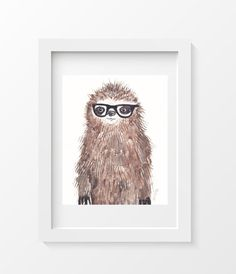 Geeky Sloth Watercolor Painting  Animal Art by Littlecatdraw