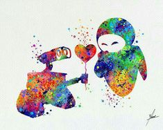 Wall-E and Eve Splatter Art