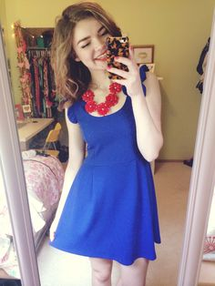 Mary and & Mak Royal Cobalt Blue Pointe Knit Ruffle Collar Dress + J.Crew red 5 flower dupe necklace from Our World Boutique. #OOTD