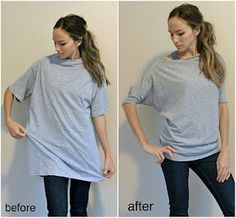 Men's XL tshirt into a 'Dolman' style shirt: ~15 min project, 3 cut, 2 short gathers and two seams=done!