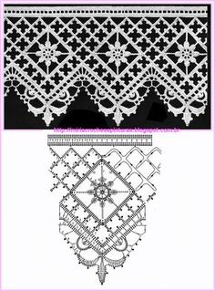 MIRIA CROCHÊS E PINTURAS: RENDAS DE CROCHÊ N°448 filet crochet edging pattern