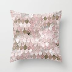 SUMMER MERMAID NUDE ROSEGOLD by Monika Strigel Throw Pillow $20  wonderful nude and rosegold mermaid scales in pastel shades and glittery look