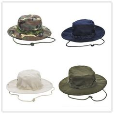 Men Boonie Brim Military Mesh Fishing Outdoor Bucket Hat Canvas Camo Hiking Cap