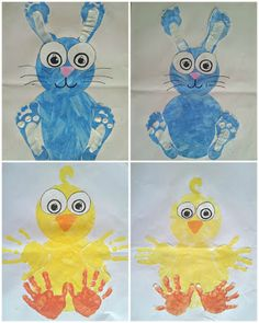 Foot print bunnies & hand print chicks painting