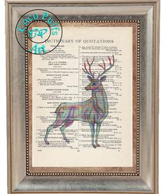 Rainbow & Yellow Stag Art 2 Print Special - Vintage Dictionary Page Art Print Upcycled Page Print,Note Cards Print, Kitsch Stag Print by CocoPuffsArt on Etsy